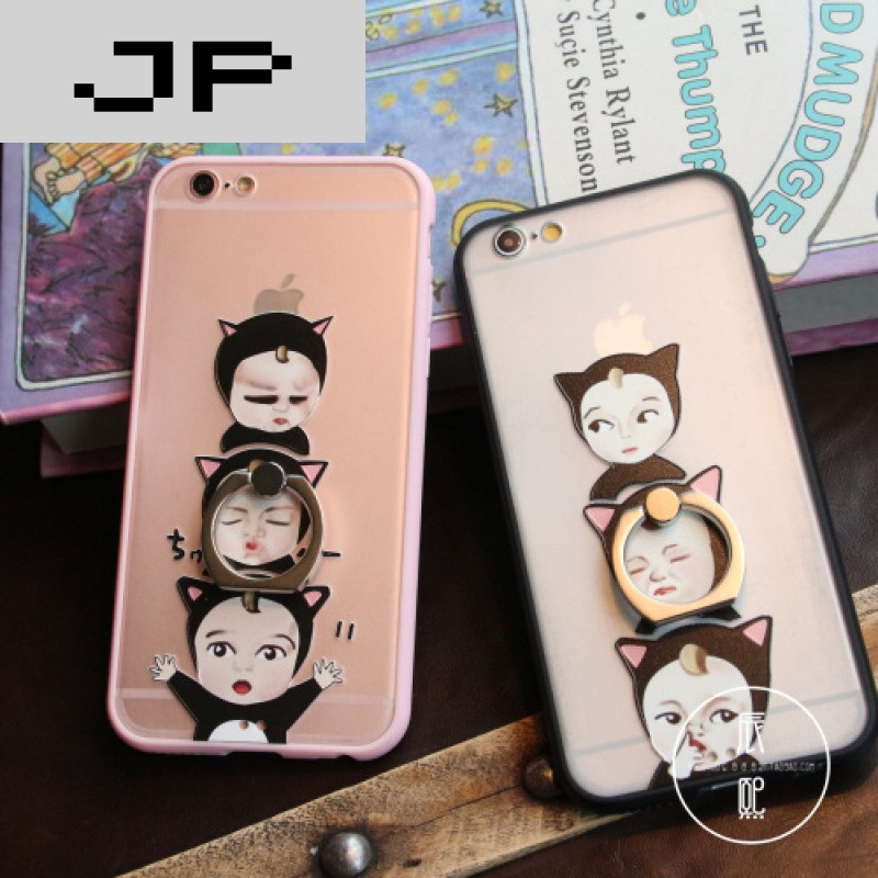 jp潮流品牌搞怪萌娃 iphone6s手机壳 苹果6splus硅胶壳支架指环 5s潮
