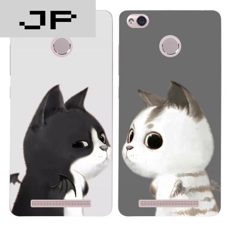 jp潮流品牌可爱卡通手绘猫咪红米3s note3 pro手机壳全包硅胶软壳防摔