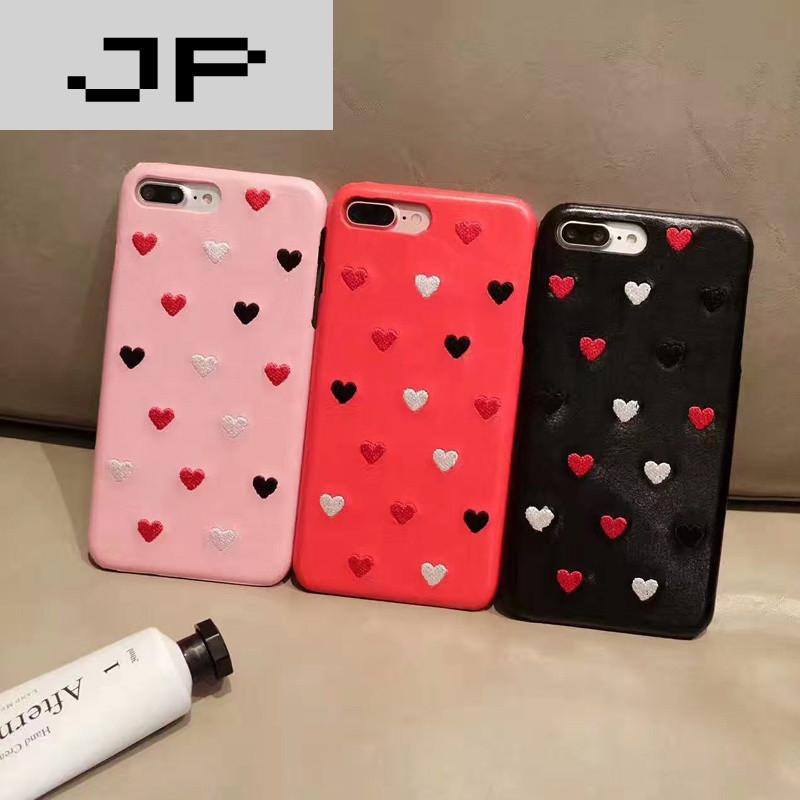 手机套品牌_jp潮流品牌可爱少女心iphone7手机套7plus手机套6s刺绣手机壳半包牛仔