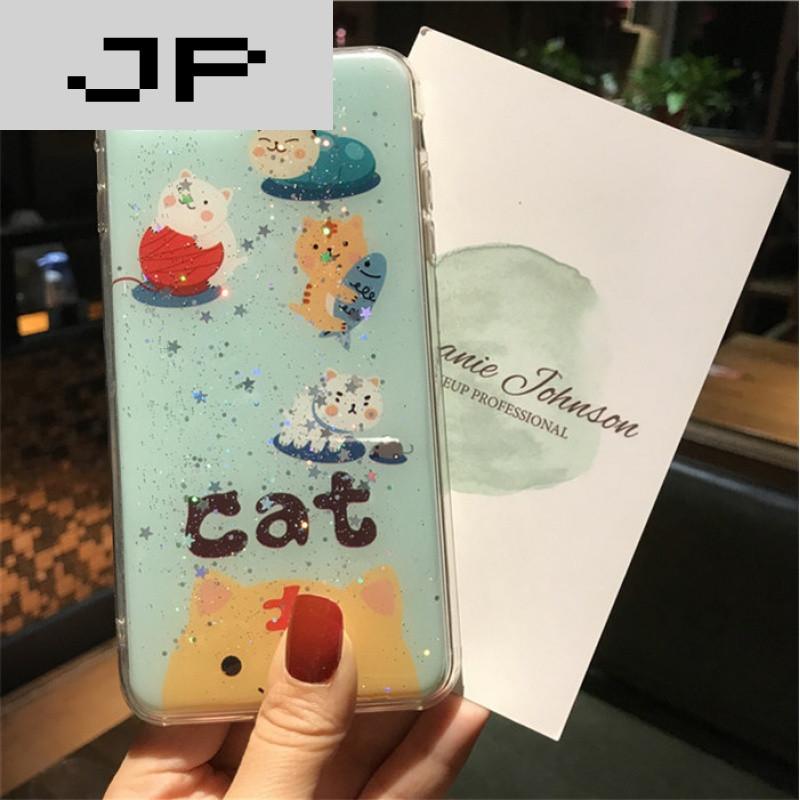 jp潮流品牌可爱猫咪滴胶iphone6s苹果7plus手机壳透明