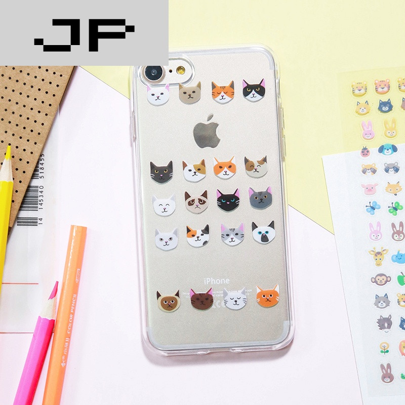 jp潮流品牌可爱卡通小猫咪iphone6s透明软壳苹果7plus