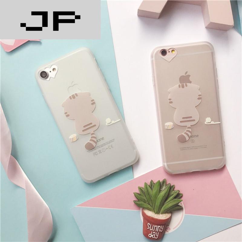 jp潮流品牌猫咪河马iphone7手机壳硅胶苹果6s保护套磨砂7plus卡通防摔