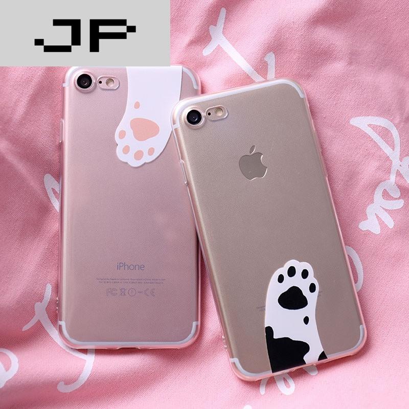 jp潮流品牌iphone7苹果6s手机壳6plus硅胶全包软壳5s情侣可爱猫爪透明