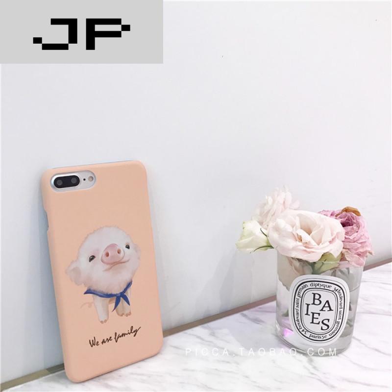 jp潮流品牌可爱卡通小猪iphone7plus手机壳苹果6/6s保护套磨砂半包图片