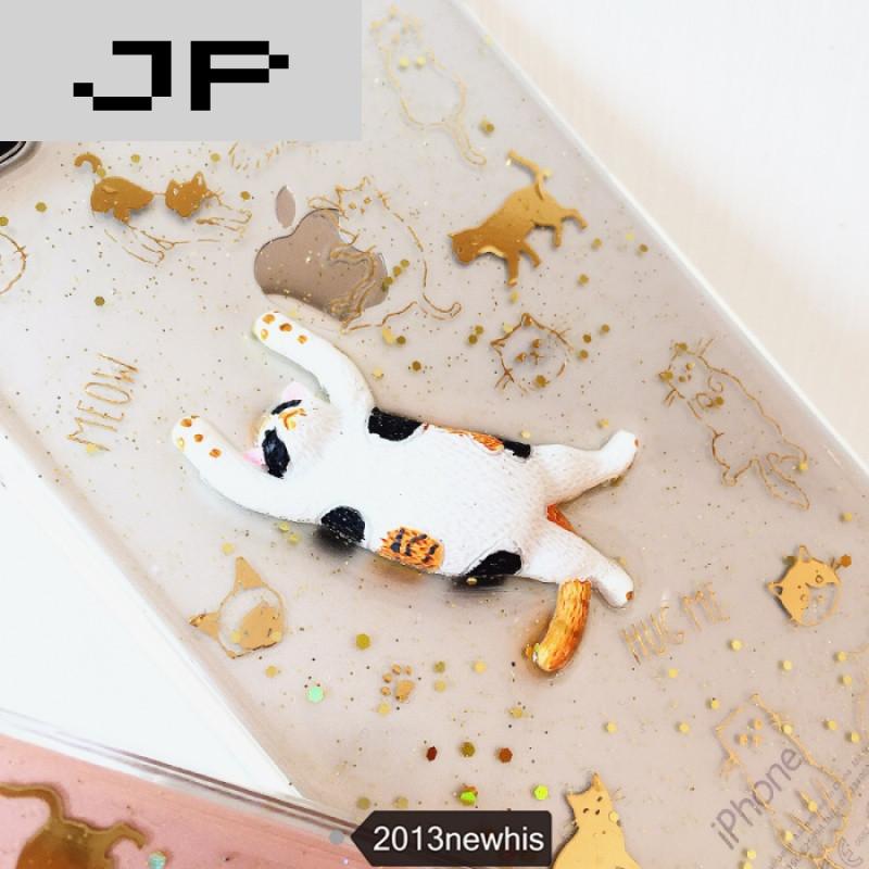 jp潮流品牌原创闪粉猫猫咪情侣phone7plus苹果6s滴胶手机壳透明全包