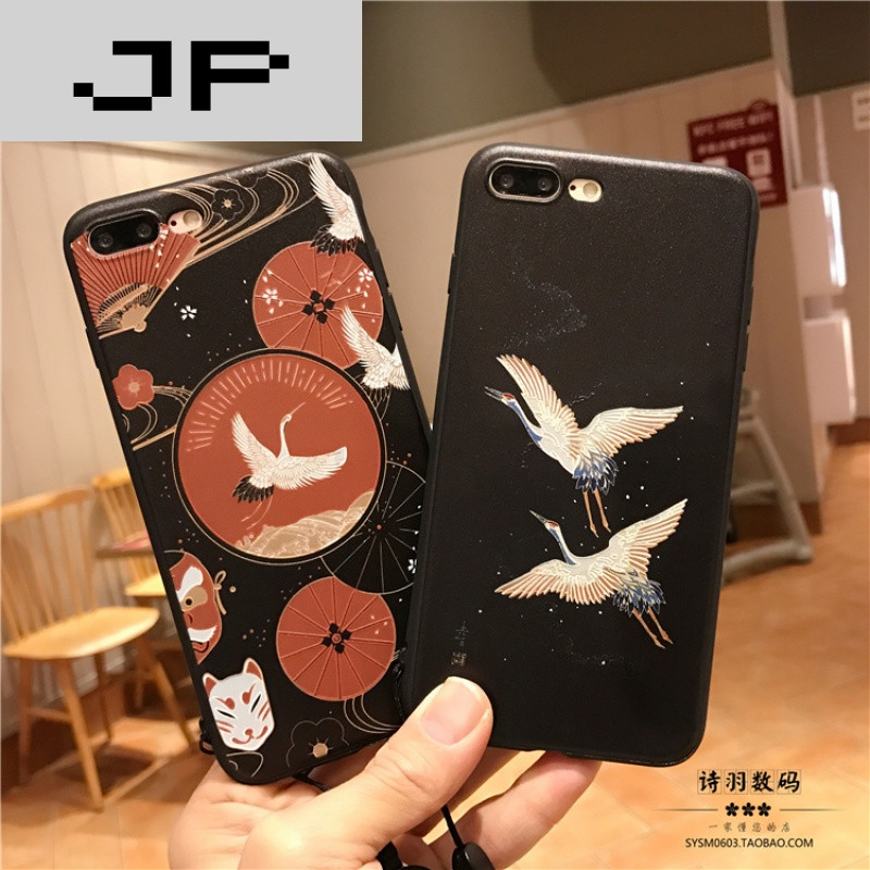 jp潮流品牌仙鹤浮雕苹果7plus保护套iphon6plus硅胶套