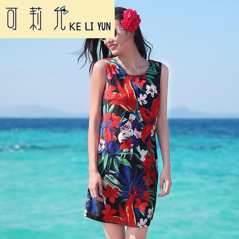 keliyun海边度假泰国沙滩裙夏短裙波西米亚背心连衣裙