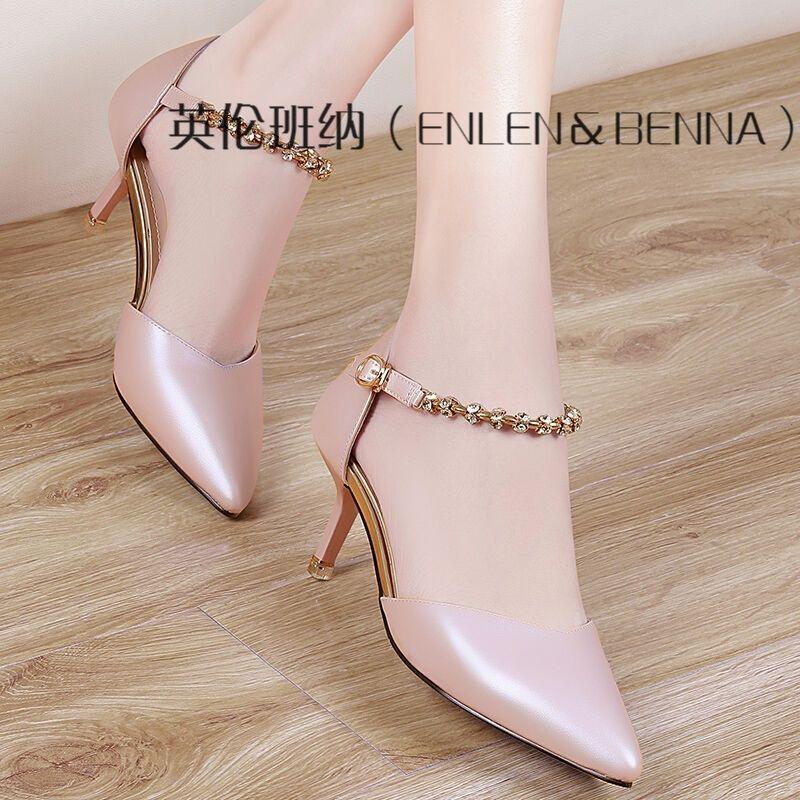 英伦班纳休闲女鞋2017春夏新款性感尖头细跟高跟鞋一字扣带粉色甜美ol