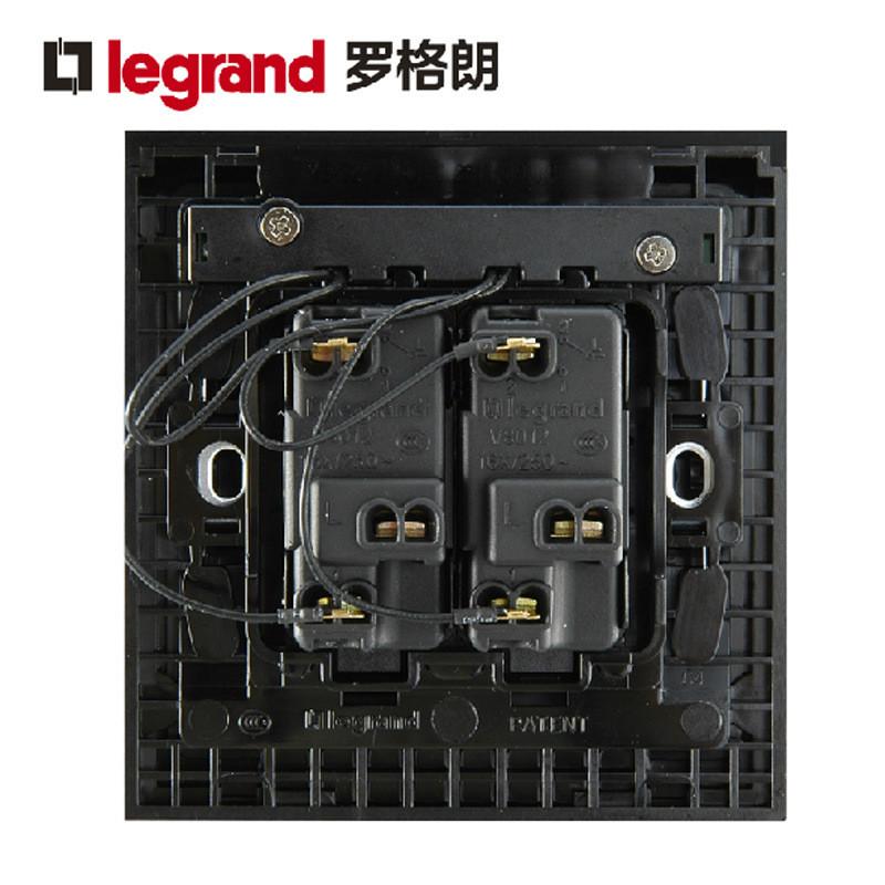 罗格朗开关插座面板k5二位双极二开双控带灯开关86型墙壁电源