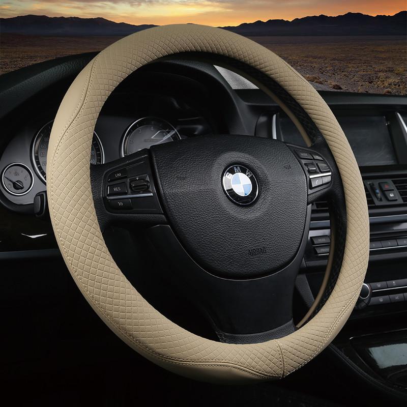 汽车方向盘套适用现代朗动瑞纳新途胜悦动伊兰特四季皮革手缝把套