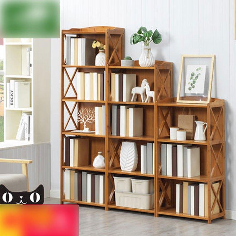 楠竹书架简易置物架实木多层落地儿童学生书柜储物收纳架多用多色多款