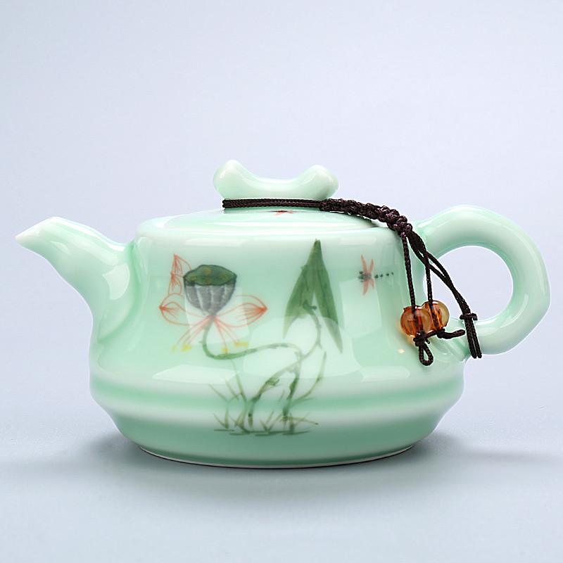青瓷茶具手绘龙泉功夫套装整套手工荷花茶壶陶瓷盖碗茶海茶杯茶具水具
