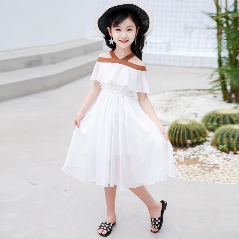 夏季新款女童連衣裙明星安迪同款童裝兒童一字肩露肩雪紡公主嬰童裙子