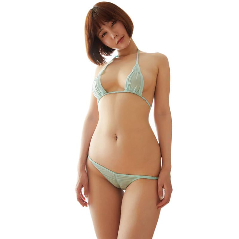 叶子媚情趣性感透明超薄游泳衣女士冰丝三点式比基尼情趣内衣直播弹力诱惑app官网图片