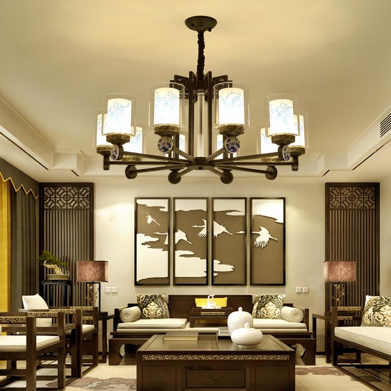 现代新中式吊灯别墅复式楼客厅大吊灯美式复古铁艺餐厅双层玻璃灯罩