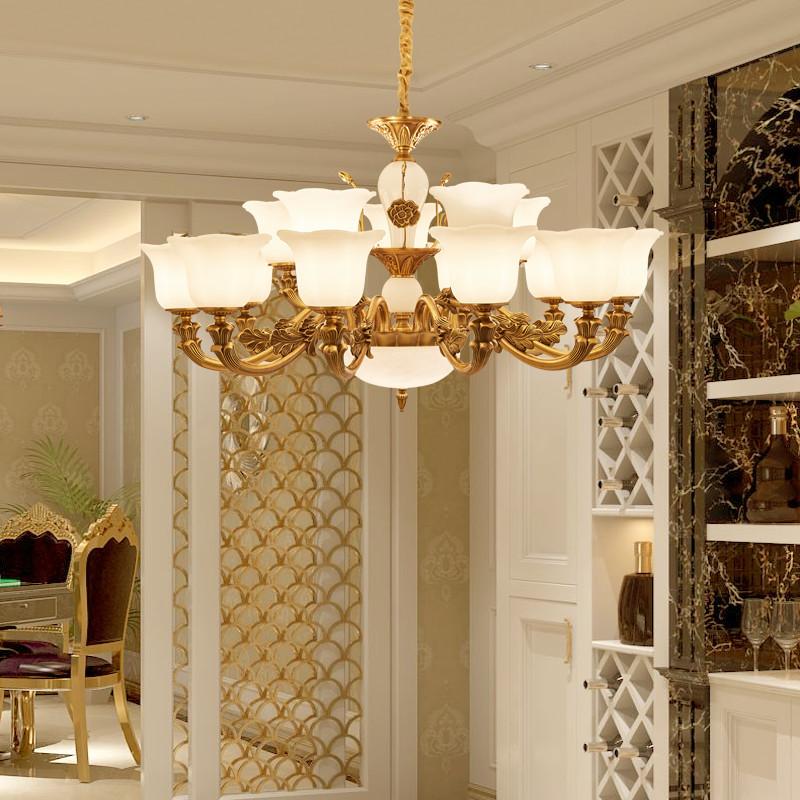 简欧欧式简约现代锌合金吊灯客厅餐厅卧室灯大气后现代新古典古铜色图片