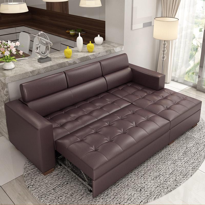 牧之真皮沙发床小户型多功能储物沙发床两用头层牛皮三人贵妃沙发组合图片