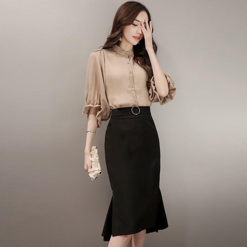 2017夏季新款韩版时尚套装女休闲气质上衣中长款宽松半身裙两件套图片