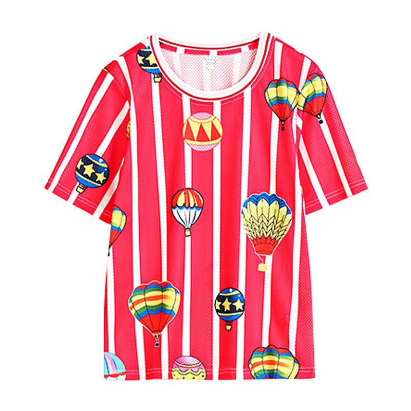 2018夏季宽松显瘦时尚印花短袖韩版条纹百搭t恤新款镂空学生上衣