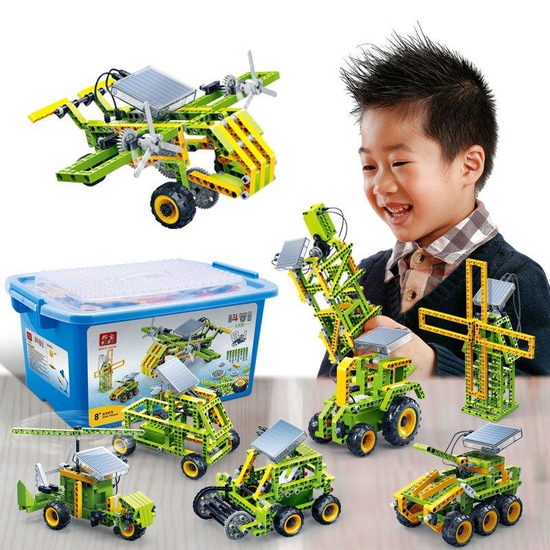 邦宝科普科技小学生拼装积木科学实验汽车玩具太阳能发电套装6905