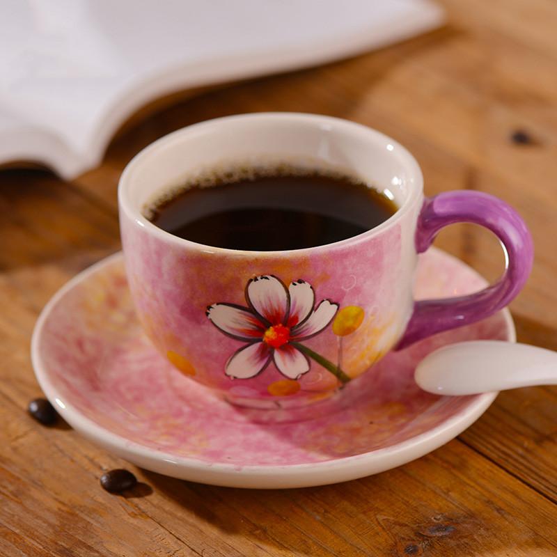 陶瓷咖啡杯手绘红茶杯拉花杯田园风茶具下午茶杯碟-淡雅雏菊(1个250ml