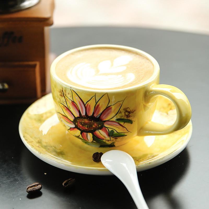 咖啡杯田园风茶具下午茶杯碟手绘红茶杯陶瓷拉花杯-温暖太阳花(1个250