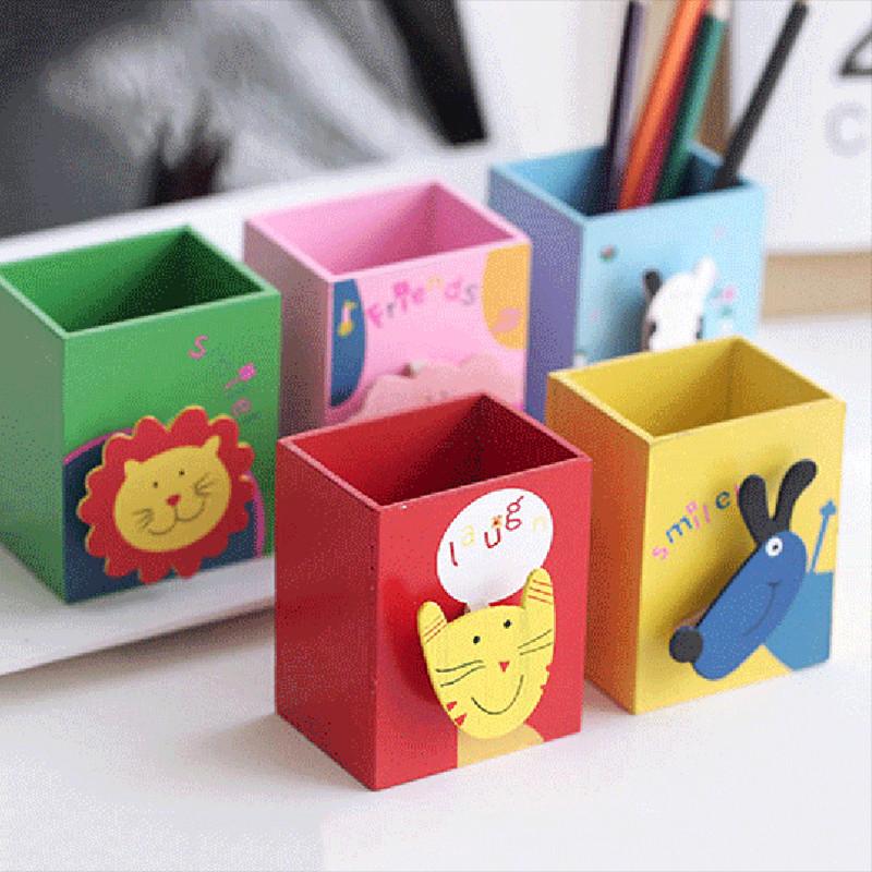 时尚笔筒创意木质可爱卡通动物收纳盒多功能笔插整理储物盒-奶牛