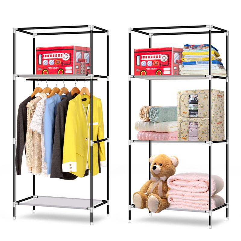 简易衣柜架组装折叠单人钢架布艺布衣柜架加粗钢管加固收纳架