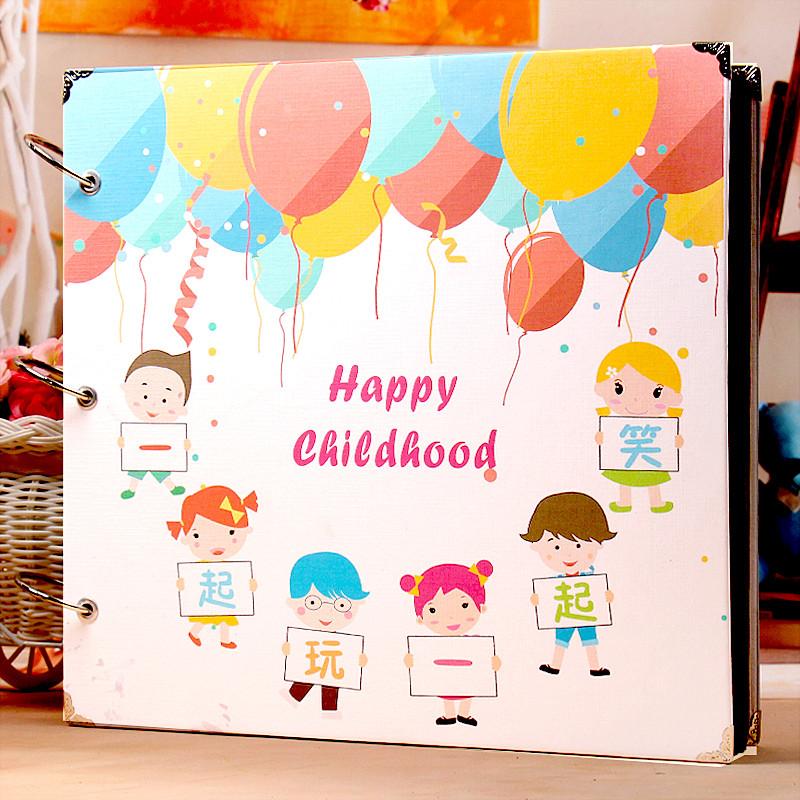 家庭影��k�9�b9��9f_创意diy手工相册制作影集家庭礼物相册儿童成长纪念册