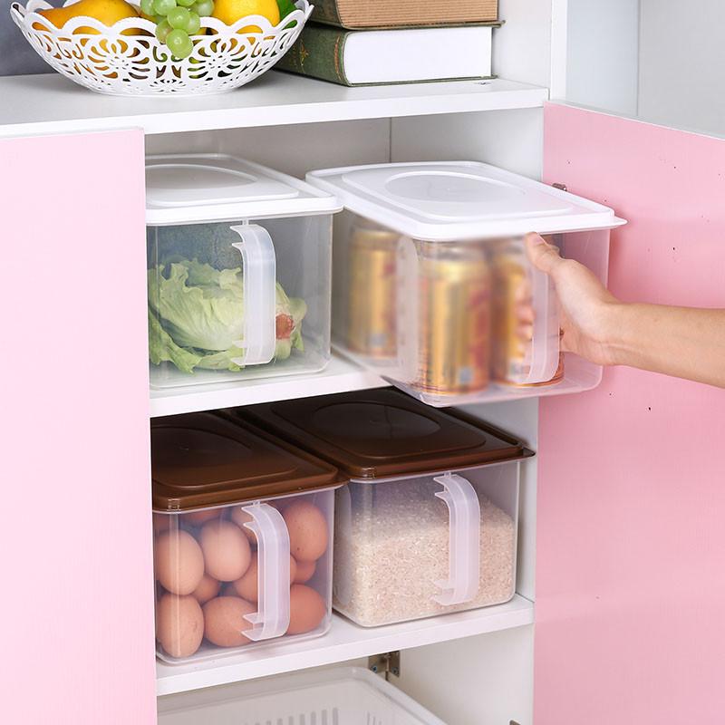 冰箱收纳盒鸡蛋盒塑料保鲜储物盒厨房食品水果密封盒带手柄整理箱图片