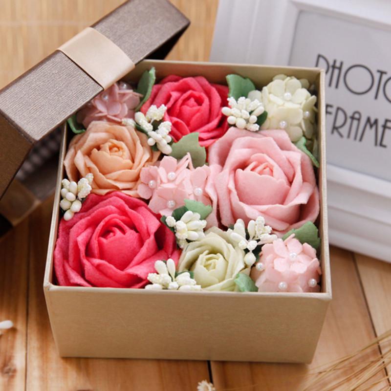 节日礼物仿真永生花礼盒创意不织布diy手工制作材料包