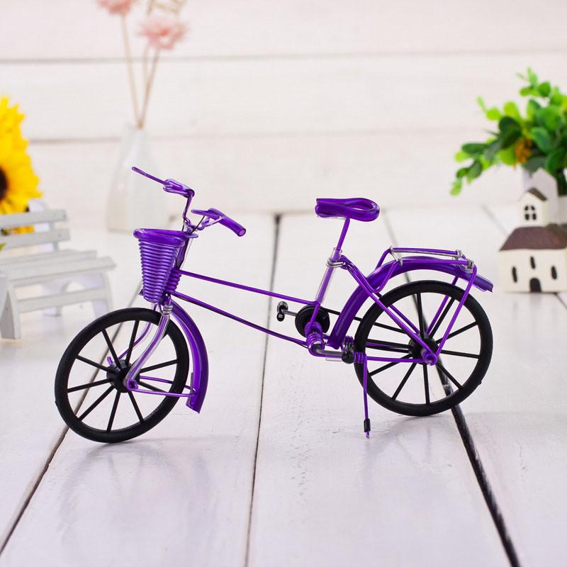 创意铁艺自行车摆件手工艺品手编自行车模型铁丝单学生纪念品-紫色
