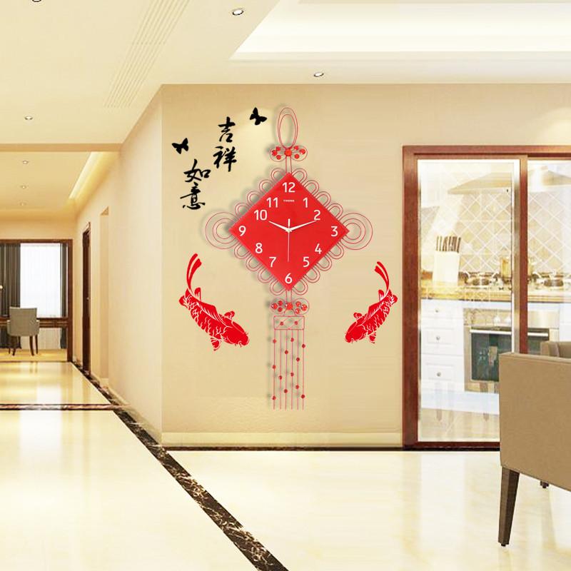 现代装饰挂钟中国结造型时尚电子钟表客厅时钟家居装饰石英钟-红色26