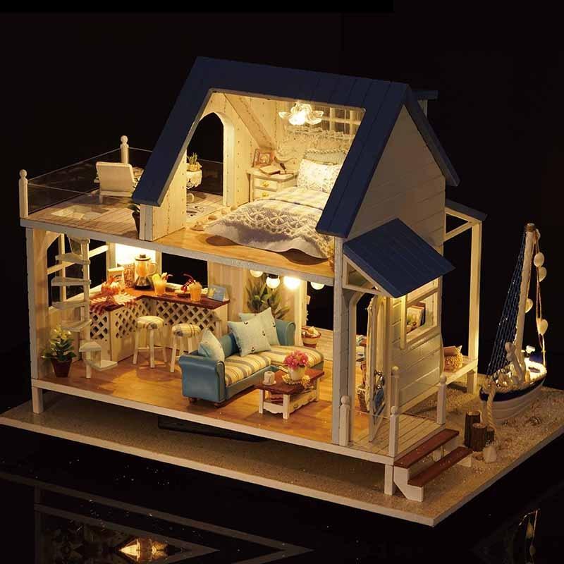 小屋手工制作房子模型玩具生日礼物-a37b加勒比海 8工具3胶 音乐 提篮