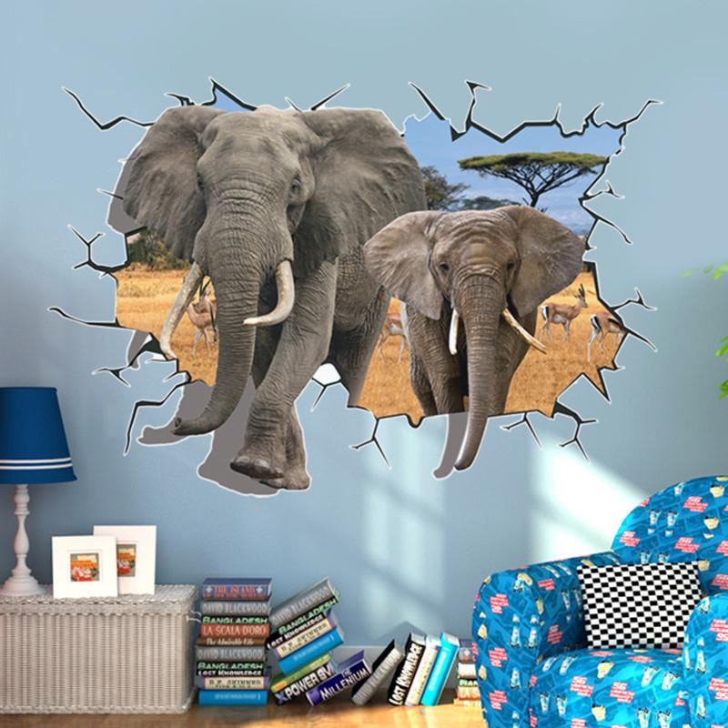立体卡通贴纸3d动物墙贴浴室卫生间防水背景可移除贴纸画-长颈鹿