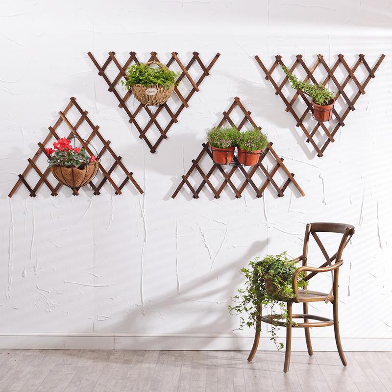 木质壁挂墙上装饰花架客厅阳台悬挂植物挂墙架网格壁饰-菱形(展开一半