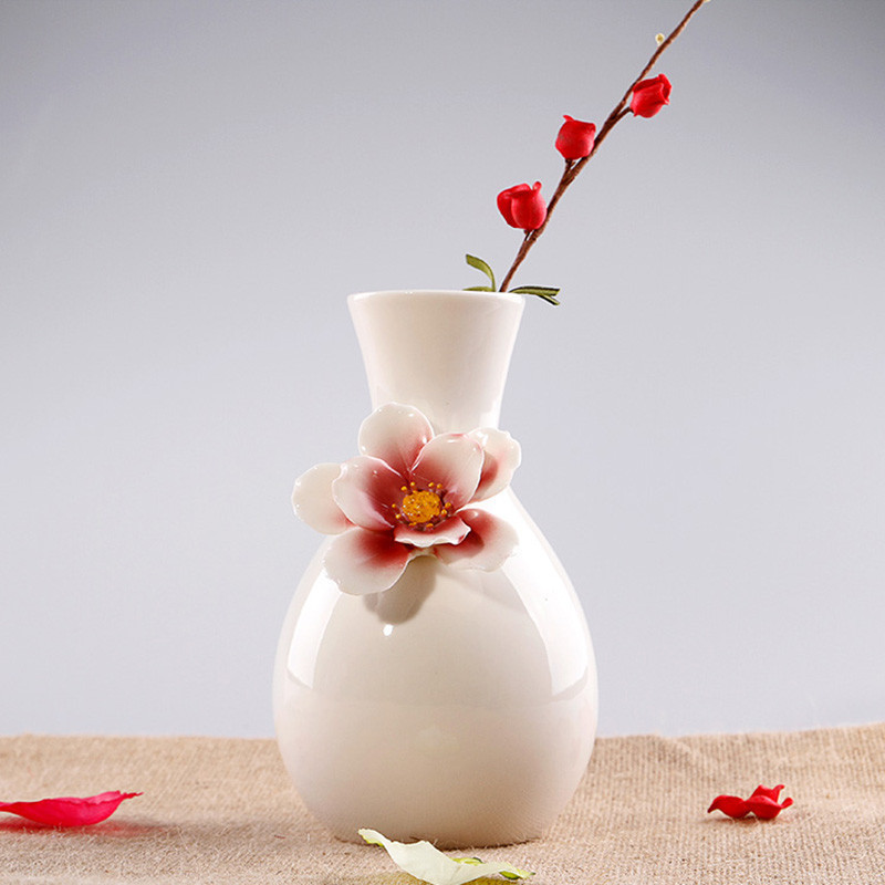客厅装饰品陶瓷花瓶创意简约现代摆件工艺品欧式台面插花瓶-b款(灰蓝)图片