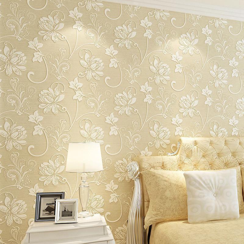 田园欧式大花壁纸自粘墙纸无纺布客厅卧室电视背景墙贴-咖色550206
