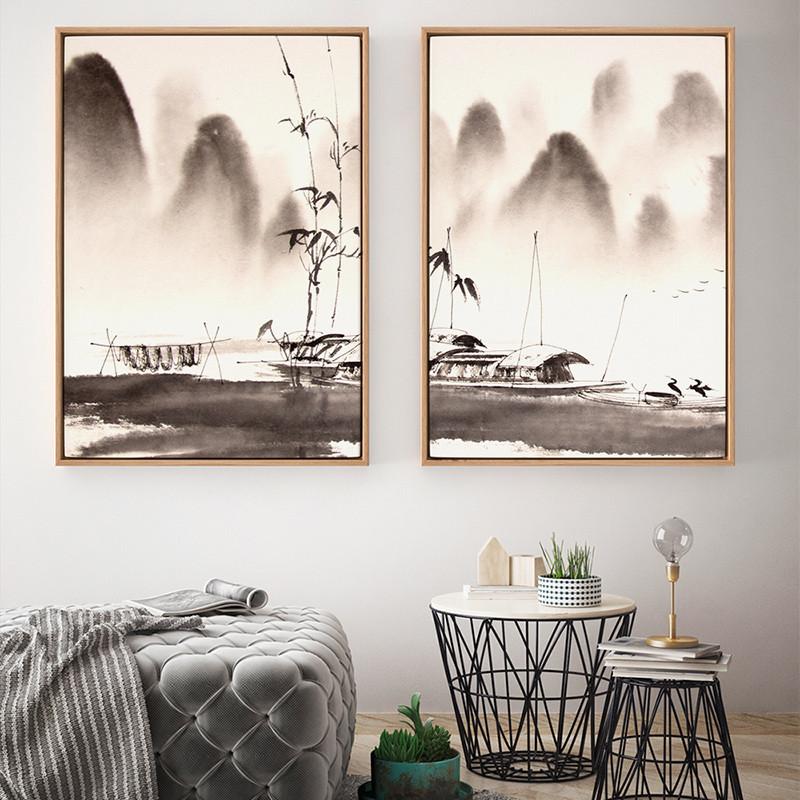 现代中式黑白风景书房意境装饰画客厅水墨三联茶室壁画挂山水画-50*70