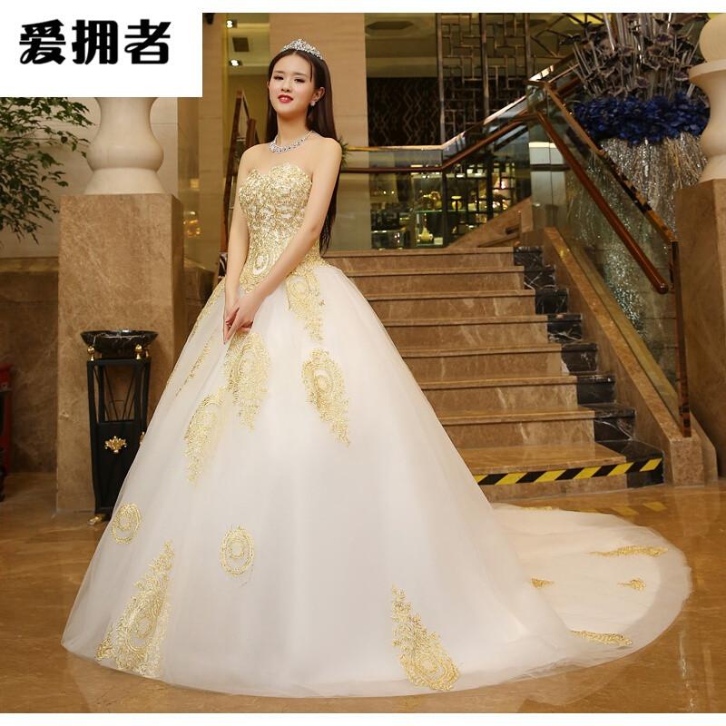 婚纱礼服长拖尾复古性新娘梦幻大拖尾公主宫廷1米金色蕾丝刺绣婚纱