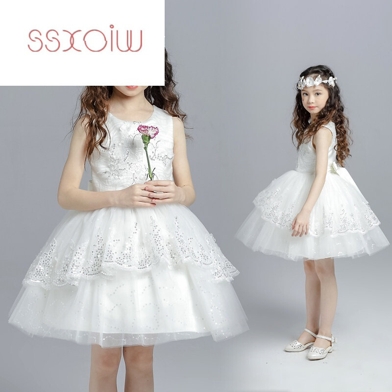 ssxoiw白色儿童婚纱连衣裙花童礼服公主裙蓬蓬裙童装女童纱裙夏装白色