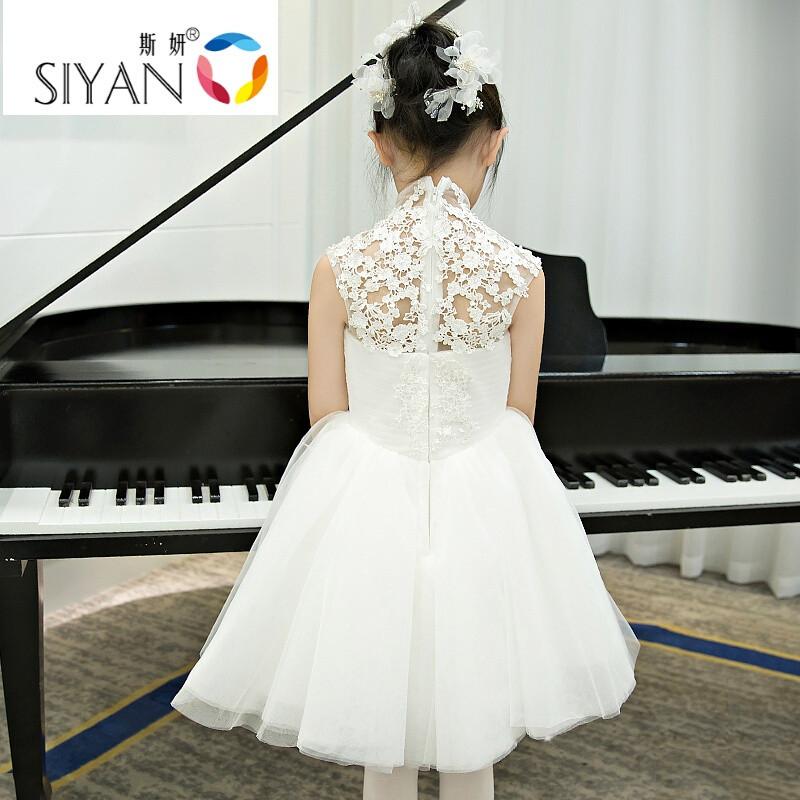 斯妍儿童礼服白色花童礼服公主裙婚纱裙女童礼服钢琴演出服春装蓬蓬裙