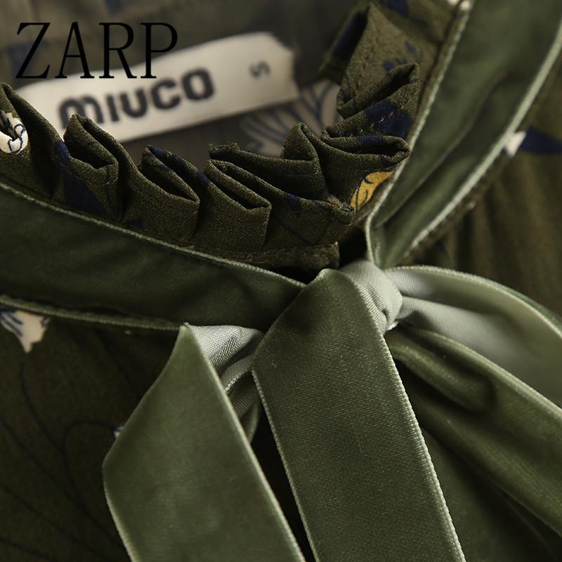 zarp女装2017春季新款欧洲站立领飘带重工百褶碎花连衣裙