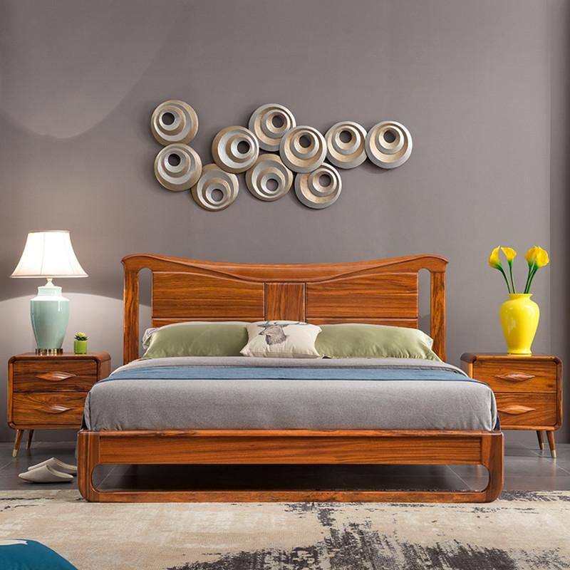 龙森家具 北欧实木床 乌金木1.8大床 卧室家具 床