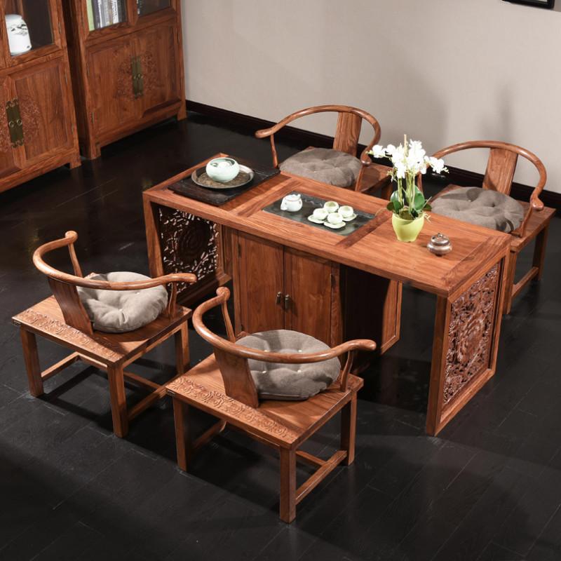 龙森家具 新中式红木茶水桌茶台餐桌餐椅刺猬紫檀中式