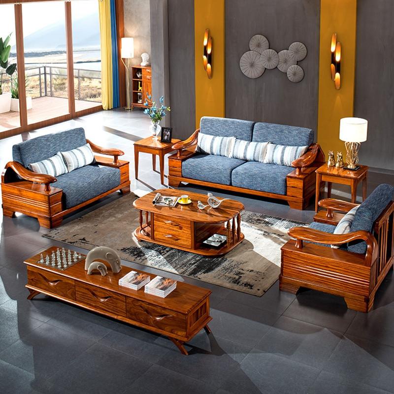 龙森家具 北欧实木沙发乌金木1 2 3沙发组合 客厅家具