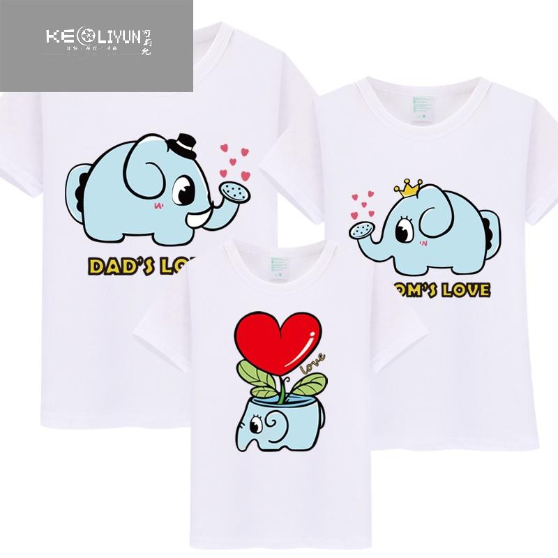 可爱卡通大象图案一家三口亲子装棉短袖t恤 情侣装幼儿园表演装
