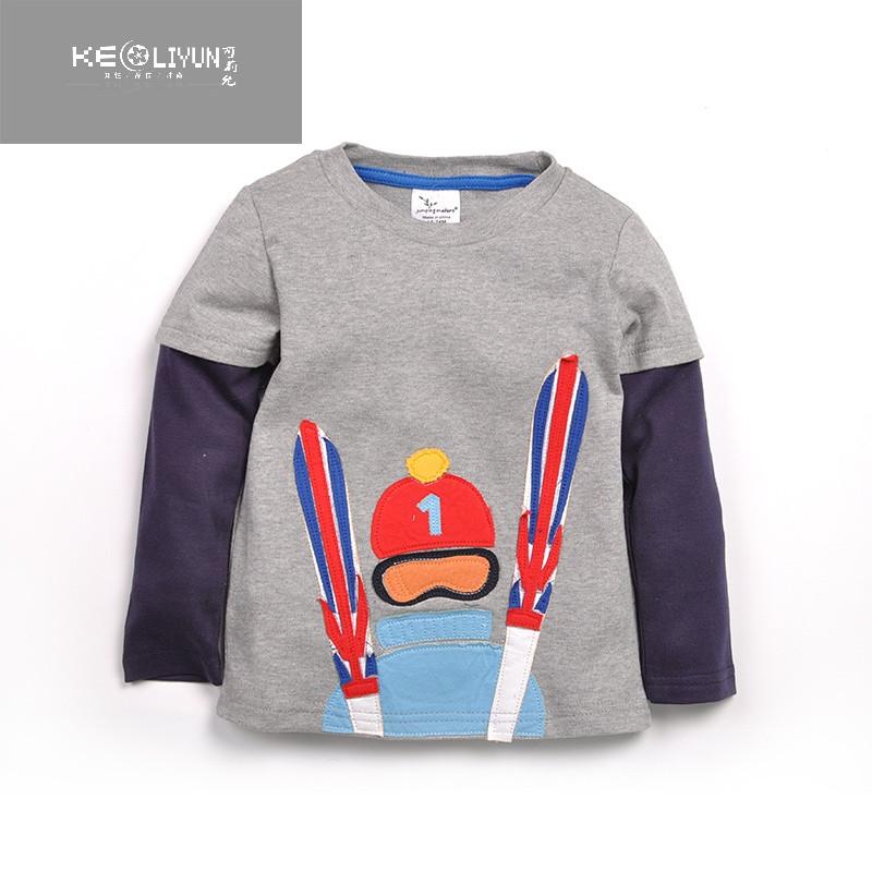 儿童长袖t恤滑雪高手卡通图案男宝宝可爱百搭t恤