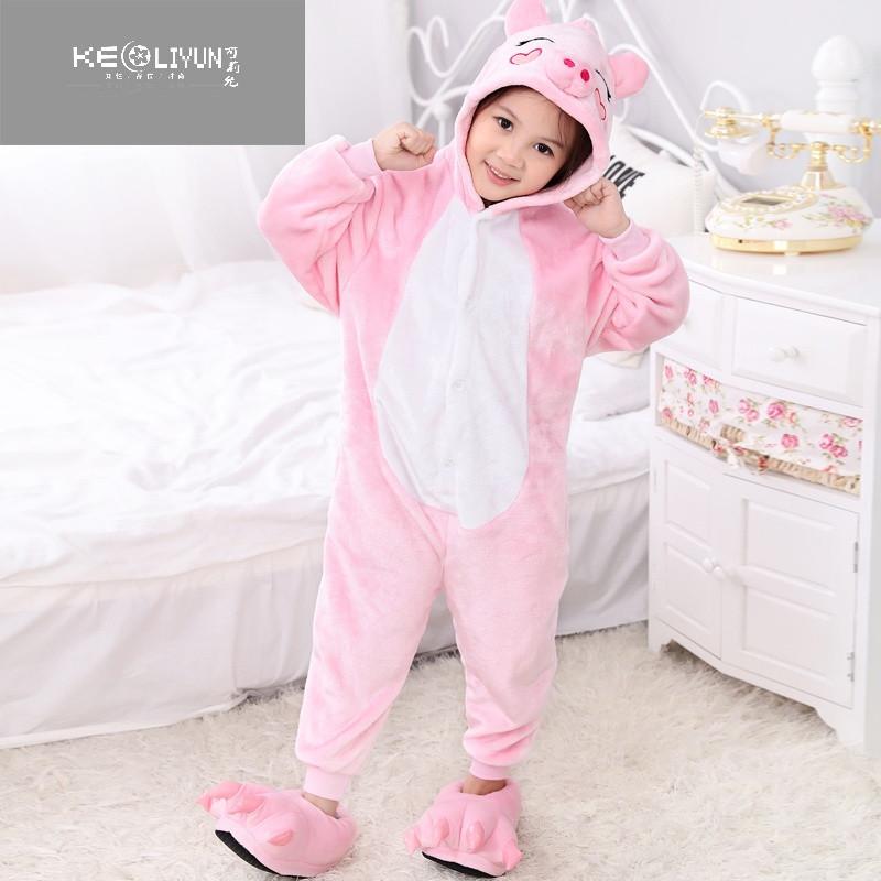 小孩动物连体衣卡通儿童春秋法兰绒韩版冬季加厚女宝宝可爱睡衣