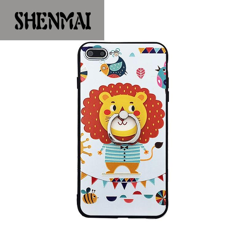 shm品牌可爱卡通浮雕狮子头iphone7手机壳苹果7plus保护套6s支架挂绳